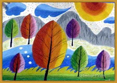 风景 樊洪秀/迷人的风景儿童画,此幅油画棒画尺寸为318x450像素,作者樊...