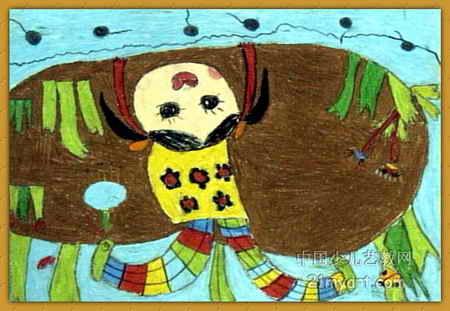你好,小蝌蚪儿童画