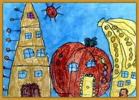 奇怪的房子兒童畫_繪畫分享