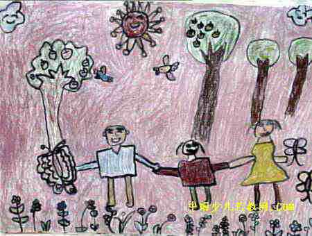 愉快的一天油画棒儿童画