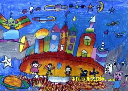 宇宙间的家园儿童画