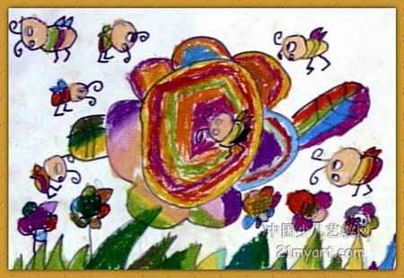 蜜蜂采蜜儿童画 3幅