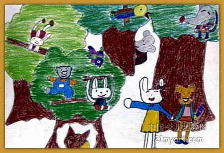 真快乐儿童画,这幅油画棒画作品长307px,宽450px,作者李品,男,6岁