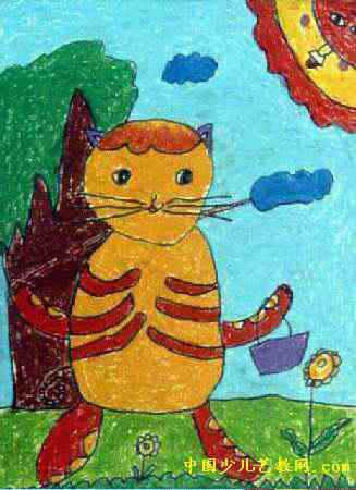 小猫钓鱼儿童画(一)8幅(第7张)