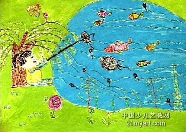 钓鱼儿童画(二)5幅