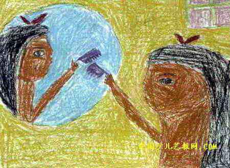 照镜子儿童画(第2张)