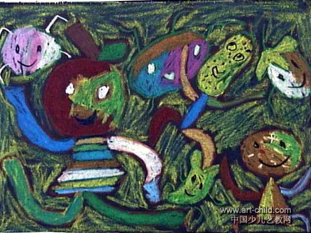 水果舞会儿童画