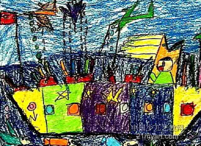 中国军舰儿童画图片