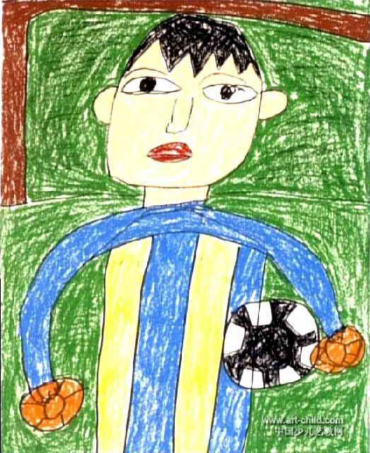 我的理想 足球冠军儿童画作品欣赏图片