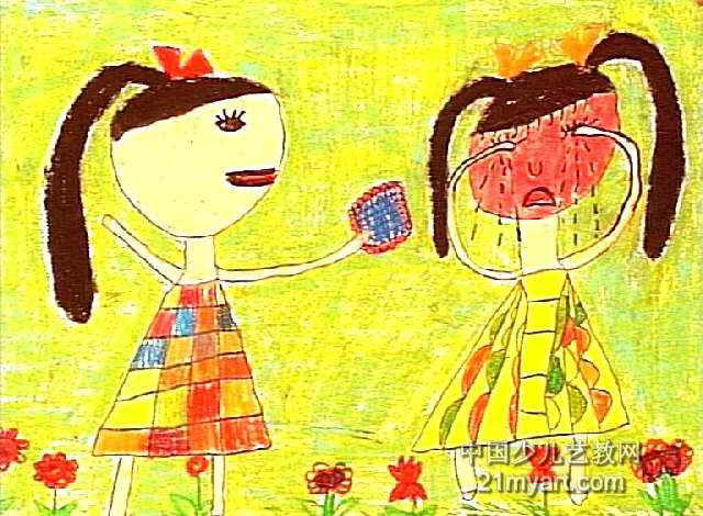 好朋友,别哭了儿童画作品欣赏