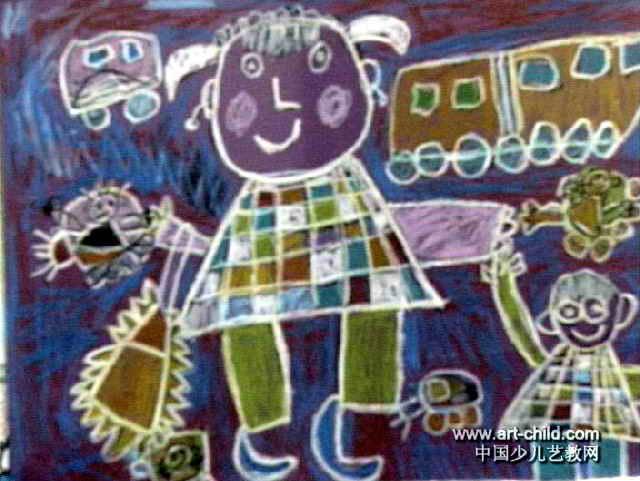 去姥姥家儿童画,此幅油画棒画尺寸为481x640像素,作者刘皓琦,女,3.5岁,来自三门峡市第二幼儿园.
