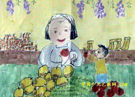 奶奶的水果摊儿童画