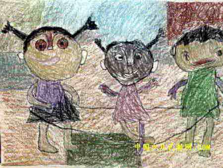 快乐的跳皮筋游戏儿童画