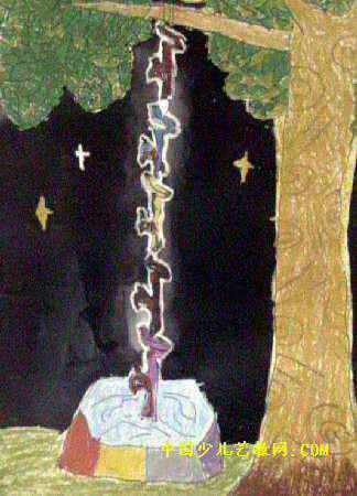 猴子捞月亮儿童画属于油画棒画,长450px,宽324px,作者刘欣欣,女,5岁