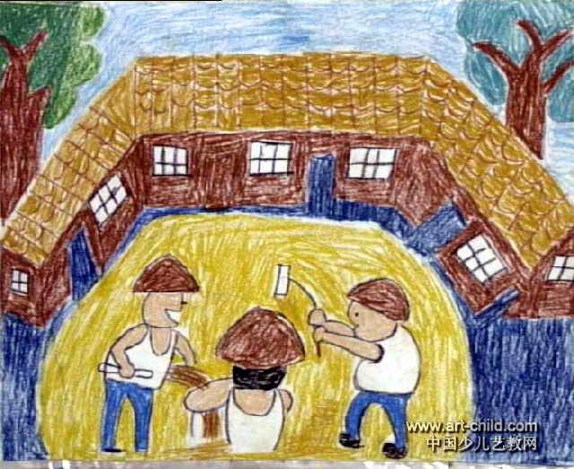 农家乐儿童画