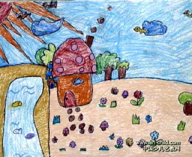 阳光下的蘑菇房子儿童画作品欣赏