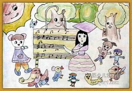 音乐会儿童画7幅(第4张)