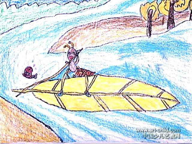 蚂蚁过河儿童画5幅