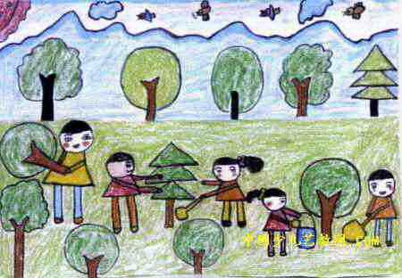 儿童油画棒画 >> 植树造林儿童画2幅   植树造林儿童画属于油画棒画