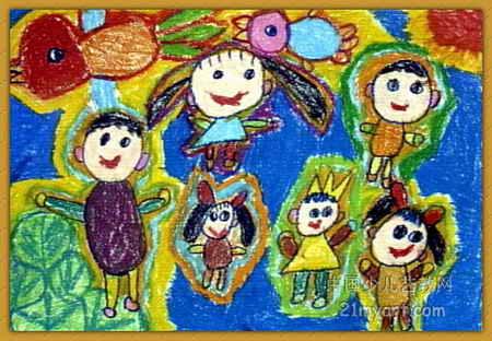 我的幼儿园儿童画-我们一起飞儿童画2幅