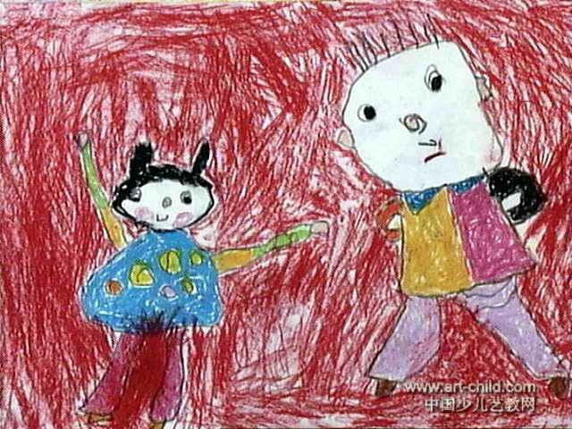 爸爸教我做早操儿童画作品欣赏