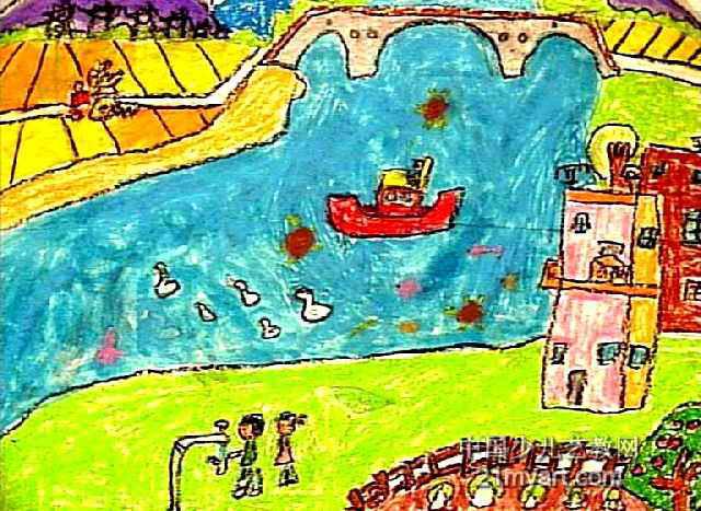 可爱的家乡儿童画5幅(第2张)