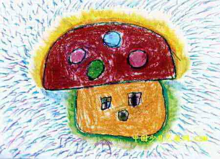 蘑菇房子儿童画属于油画棒画,长327px,宽450px,作者刘晨,来自南阳市