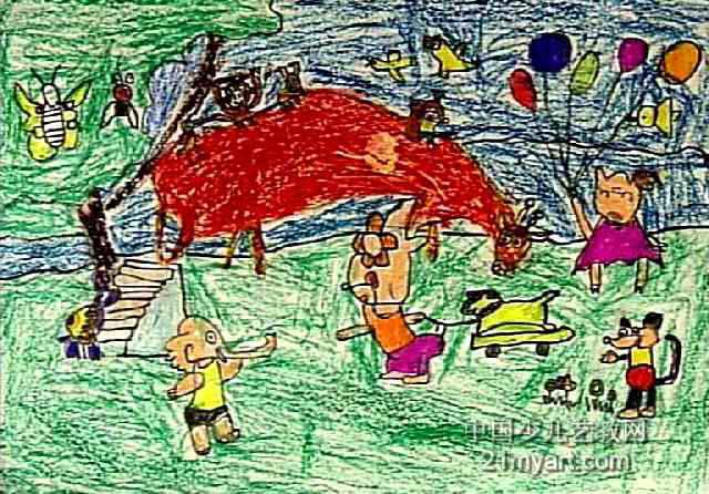 滑滑梯儿童画8幅