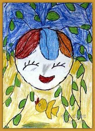 儿童油画棒简笔画_春姑娘儿童画15幅