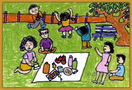 野餐儿童画2幅图片