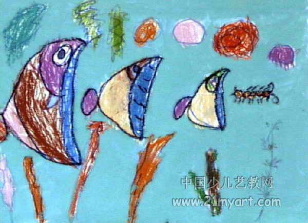 油画棒可爱的小鱼