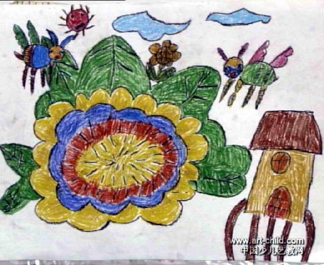 蜜蜂采蜜儿童画3幅