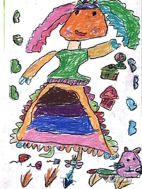 跳舞的小姑娘儿童画4幅(第3张)