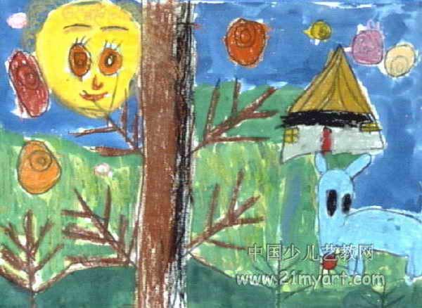 儿童画 王磊超/夜晚狐狸儿童画,此幅油画棒画尺寸为438x600像素,作者王磊超...