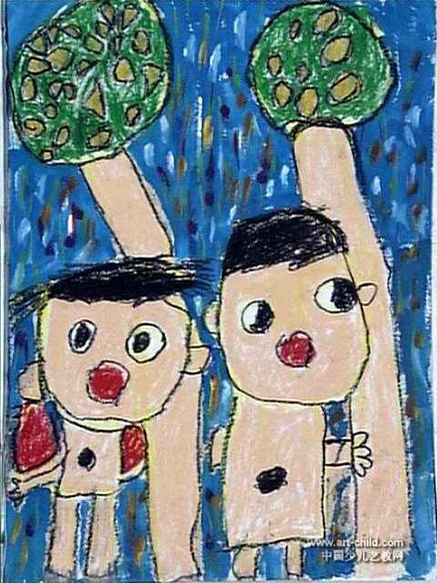 此幅油画棒画大小为640x480像素,作者李季昌,来自南阳市育红幼儿园,男图片