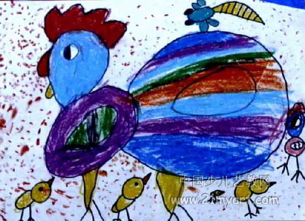大公鸡儿童画