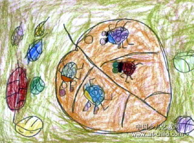 七星瓢虫和叶子儿童画作品欣赏