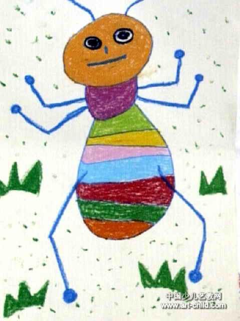 练健美的蚂蚁儿童画作品欣赏