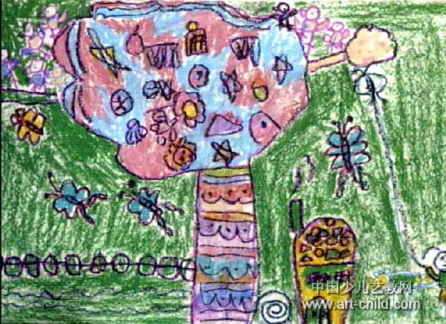 简笔画 儿童画 儿童油画棒画 >> 春天多美好儿童画作品欣赏   春天多
