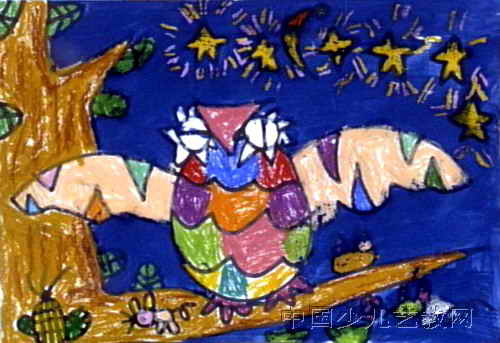 儿童画/猫头鹰儿童画,此幅油画棒画大小为343x500像素,作者魏可夫,...