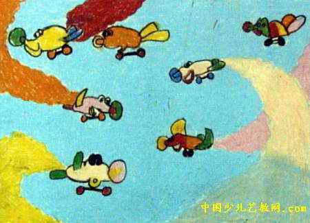空中表演儿童画属于油画棒画