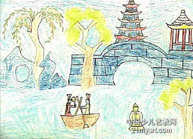梦中的西湖儿童画作品欣赏