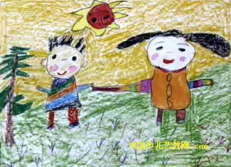 我和弟弟儿童画