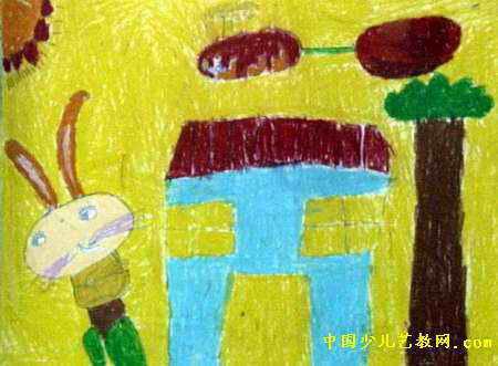 小兔回家儿童画3幅