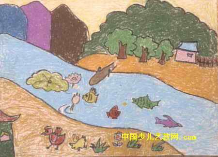 儿童画 吕小玉/我的家儿童画,此幅油画棒画尺寸为325x450像素,作者吕小玉,...