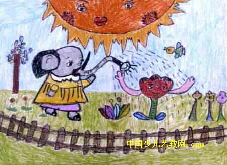 小象浇花儿童画2幅