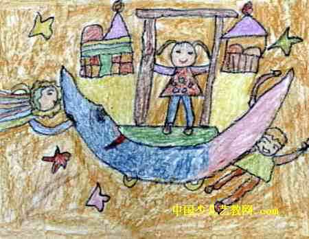月亮上的故事儿童画8幅