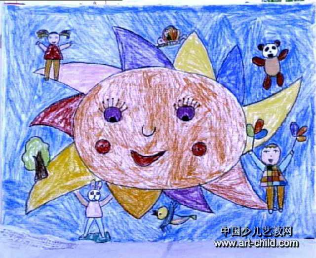 我和太阳公公做朋友儿童画2幅