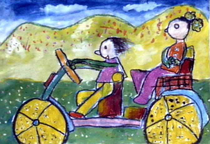 回姥姥家油画棒儿童画