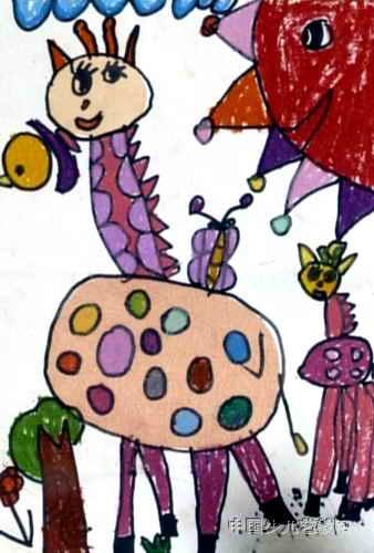 儿童画,这幅油画棒画作品长500px,宽338px,作者刘春妤,女,5岁,就读